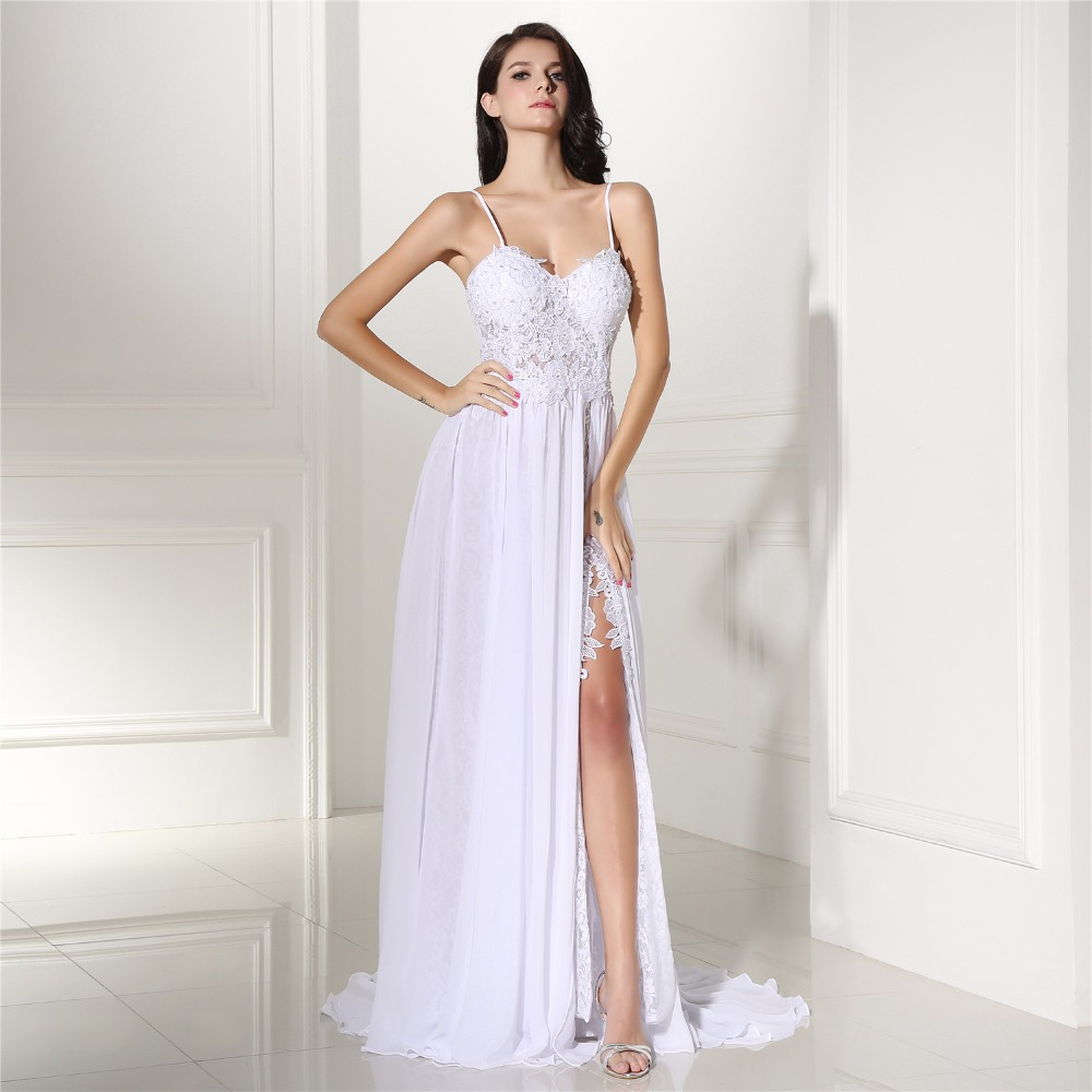 Beach Wedding Gown: Backles Lace Split Chiffon Beach Wedding Dress