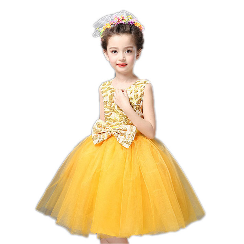 Sleeveless Girls Princess Dress for Childrens Day Host Singer School Chorus Performance Costume Blue White Pink Red Purple