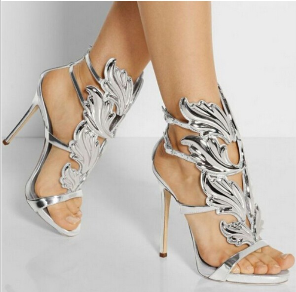 Wholesale Golden Metallic Leather Wing Sandals Silver Gold Red Gladiator High Heels shoes woman Women Metallic Winged Sandals hottest golden metallic leather wing sandals silver gold red gladiator high heels shoes women metallic winged sandals