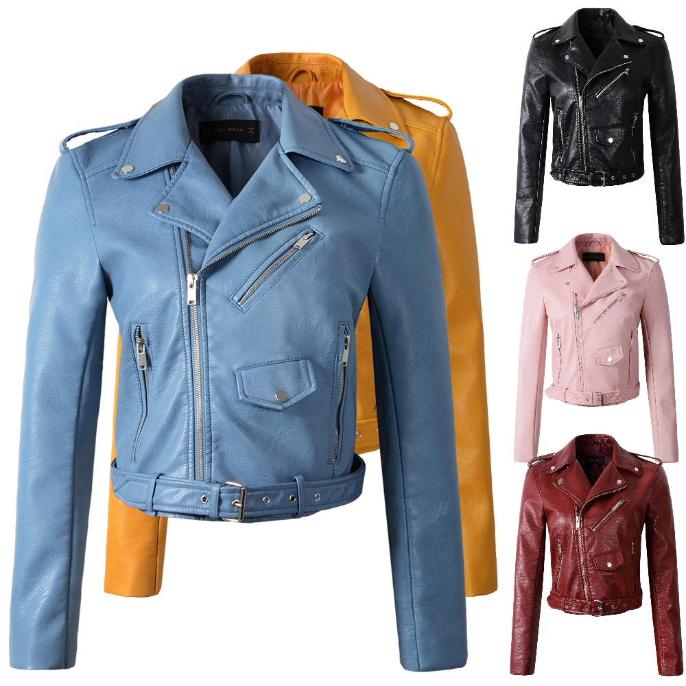 Winter autumn new 2019 new   leather   clothing coat Women outerwear motorcycle slim fashion   leather   jacket women girls yellow coats