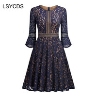2018 NEW Vintage Women Lace Dress Blue Elegant Flare Sleeve O Neck Big Swing Retro Casual
