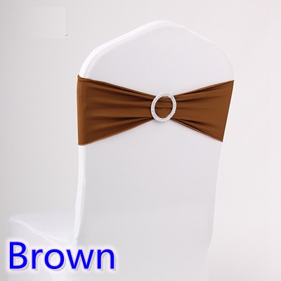 Brown colour wedding chair sash spandex band with diamond buckle for chair covers lycra bow tie spandex sash ribbon on sale