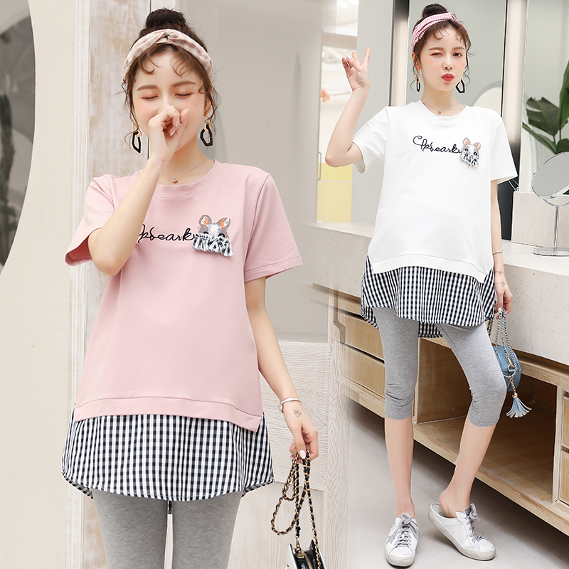 622# Sweet Patchwork Cotton Maternity T Shirt Summer Casual T-shirt Clothes for Pregnant Women Lovely Loose Pregnancy Tees Tops622# Sweet Patchwork Cotton Maternity T Shirt Summer Casual T-shirt Clothes for Pregnant Women Lovely Loose Pregnancy Tees Tops