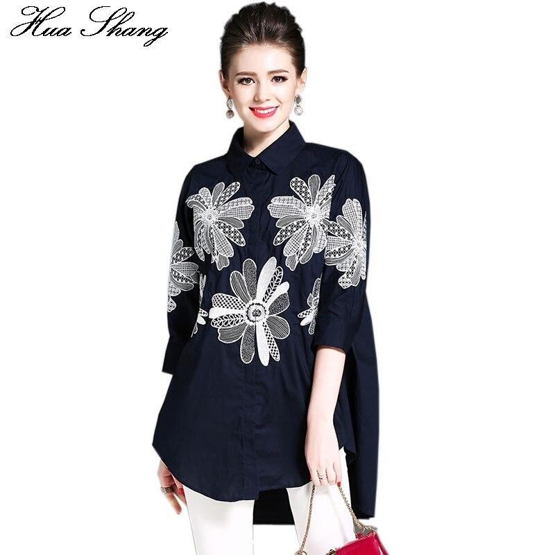 Cotton Linen Women Embroidery Blouse Elegant Vintage Floral Women Top Loose Irregular Long Shirt Casual Women