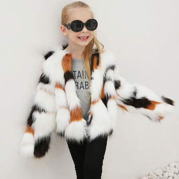 Little Girls Patchworked Faux Fox Fur Coats Western Style Kid Fashion Clothing Baby Girls Multi Fur Jackets Full Sleeve Warm Top