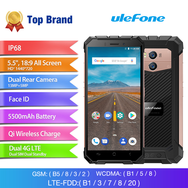 Original Ulefone Armor X 4G Mobile Phone Android 8.1 2GB+16GB IP68 Waterproof Smartphone Wireless Charge NFC Face ID Cell Phone