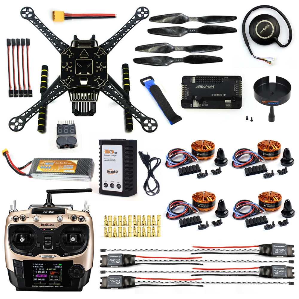 DIY FPV Drone W/ AT9S TX RX S600 4 axis Quadcopter APM 2.8 Flight Control GPS 7M 40A ESC 700kv Motor 4400MAH Battery Full Set askent s 7 1 tx