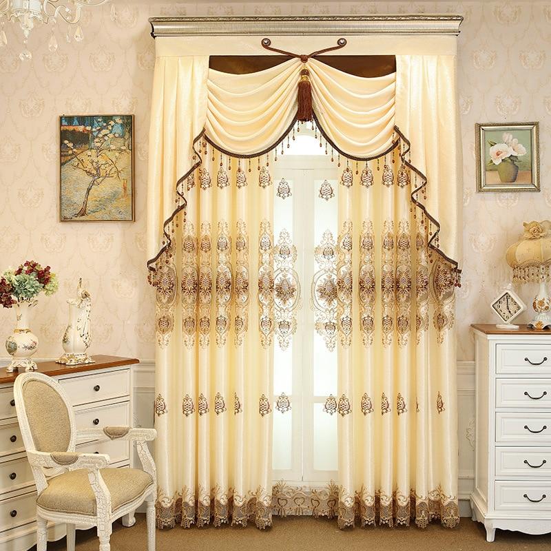European Style Living Room Orange Embroidered Curtain Bedroom Balcony Warm High Shading Valance Curtain Custom