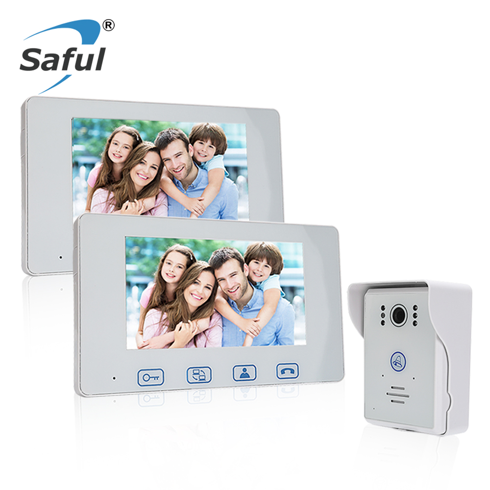 Saful 7 Color Screen Wired Video Door Phone Intercom System Unlock Function Night Vision 1 Waterproof Door Camera + 2 Monitor saful 7 inch lcd wired video door phone intercom waterproof night vision button electric lock control function free shipping