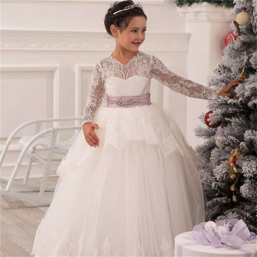 Long Ivory Lace Flower Girl Communion Dresses Pageant Dresses For ...