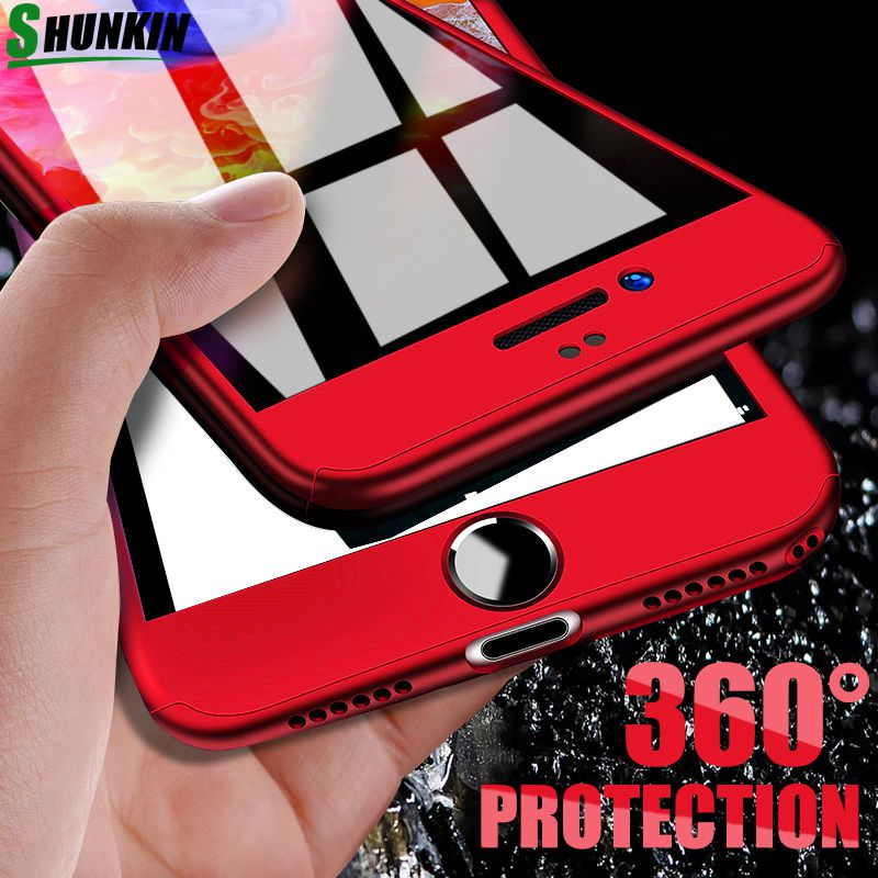 360 Degree Full Cover Phone Cases For Iphone 6 6S 7 8 Plus X Case Shockproof Cover For Iphone 8 7 6 6S 5 5S SE Case With Glass