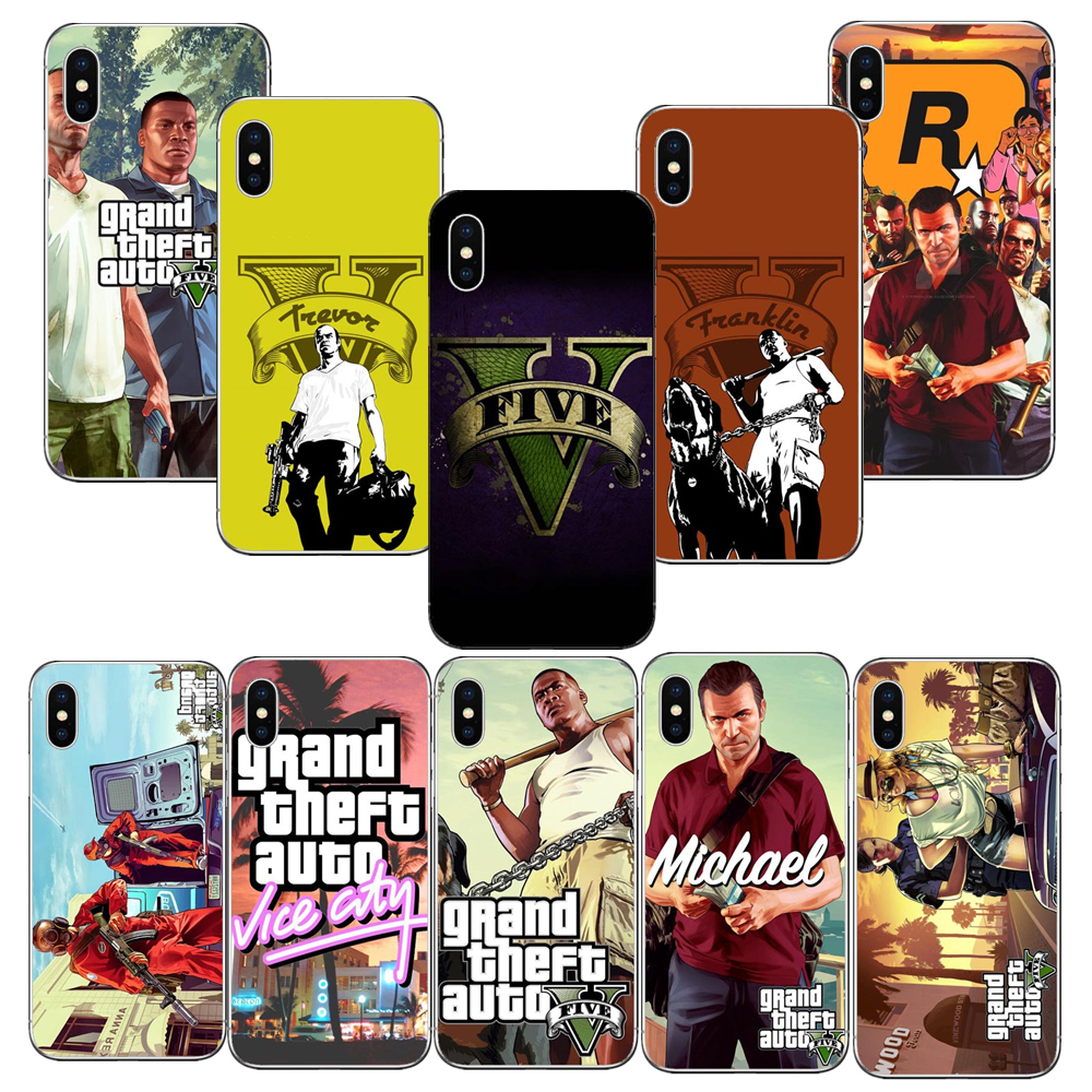 GTA V Grand theft auto game Phone Covers for iphone 6 6s Plus 7 7 Plus 8 8 Plus X 10 5 5s se 5c gta 5 Hard plastic Coque Shell ...