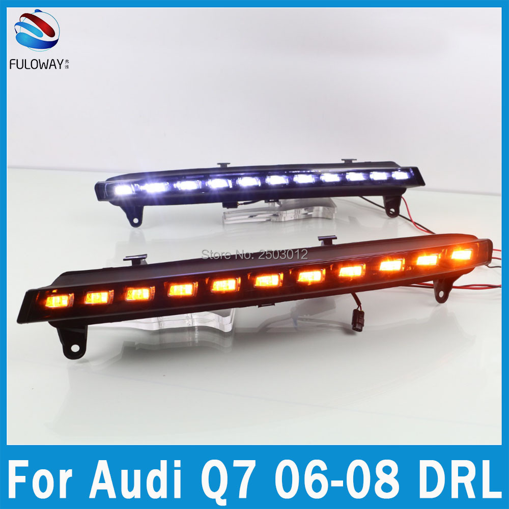 Car-styling For Audi Q7 2006 2007 2008 LED Daytime Running Lights Day Lights DRL White Turning Signal Amber For Lamp Waterproof aftermarket free shipping motorcycle parts eliminator tidy tail for 2006 2007 2008 fz6 fazer 2007 2008b lack
