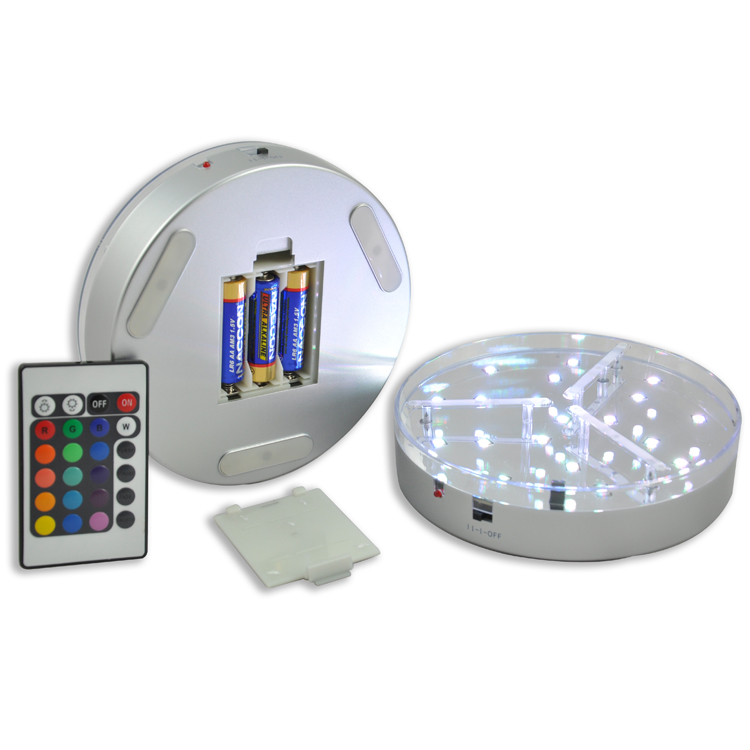 15pcs*AA Battery Operated 6 Inch RGB Home party Decoration Under Table Vase Led Light Base mirror center table CenterPieces