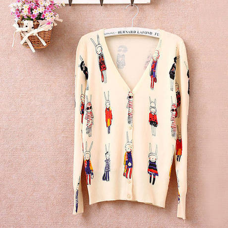 Cardigan Women 2016 Spring Korean Cute Rabbit Butterfly Floral Print V Neck Long Sleeve Knitted Cardigan Sweater Knitwear sueter