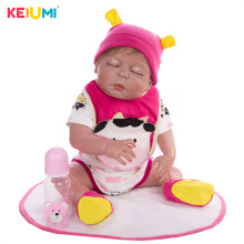 Lifestyle 23'' Lifelike Full Silicone Doll Baby Real Like Sleeping Reborn Baby Girl Brinquedo Kids Birthday Playmate DIY Toys(China)