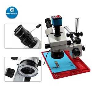 Image 3 - 3.5X 90X Simul focal Zoom Trinocular Stereo Microscope VGA HDMI Digital Camera Video Microscope for Phone PCB Chip Soldering