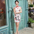 Short Women Chinese Traditional Dree Sleeve Silm Female Party Chinese Dress Stand Collar Flower Pattern Cheongsam Qipao 18