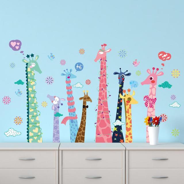 Zoo cute giraffe pattern wall stickers children\'s room baby room ...