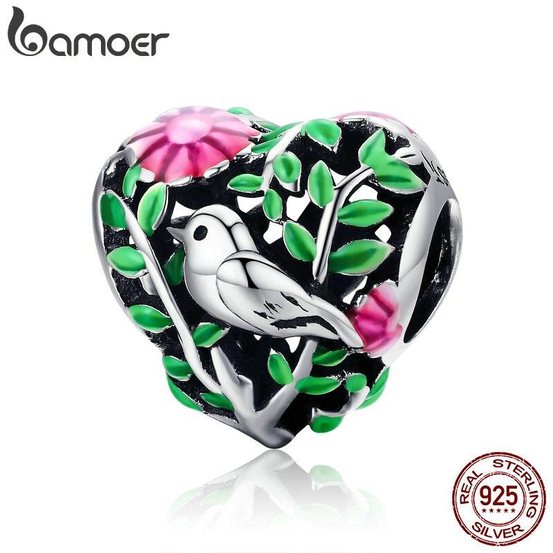 BAMOER D'été Collection 100% 925 Sterling Silver Bird in the Woods Charme Perles fit Femmes Bracelet Colliers Bijoux Cadeau SCC647