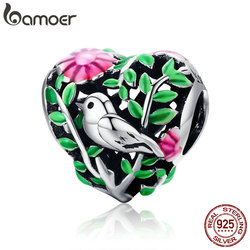 BAMOER Summer Collection 100% 925 Sterling Silver Bird in the Woods Charm Beads fit Women Bracelet Necklaces Jewelry Gift SCC647