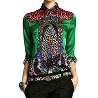 Осень шелковая рубашка Для женщин цветочный блузка Зеленый одежда с длинным рукавом шелковые блузки Офисные женские туфли Осень работы эле