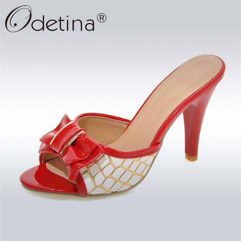 Odetina Fashion Women Mules Slippers Open Toe Spike Heel Flip Flops Bow Tie High Heels Slides Ladies Summer Shoes Big Size 33-42
