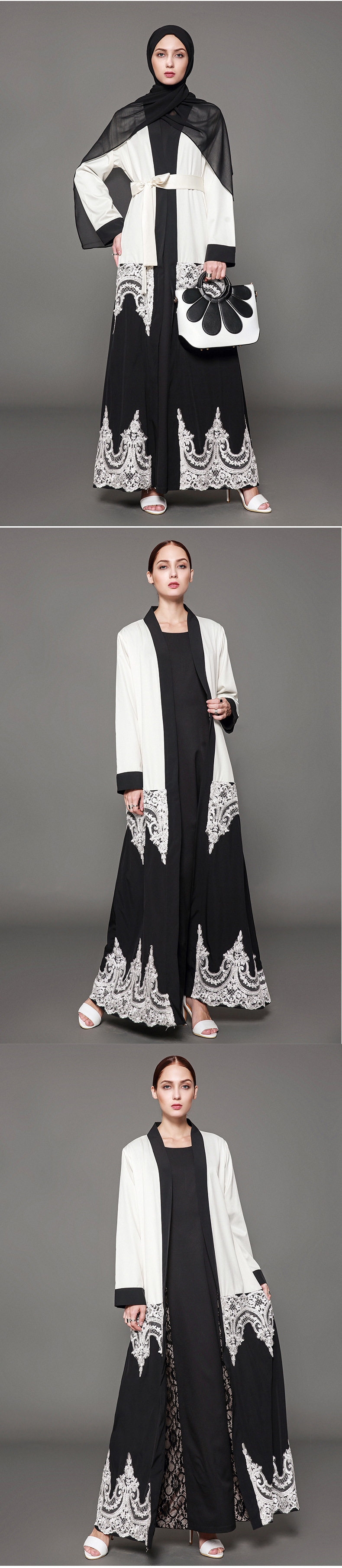 Fandy Finds Women Lace Middle-East Muslim Robe Lady Praying Clothing Solid Color Lace Up Emboridery Female Big Size Long Gown