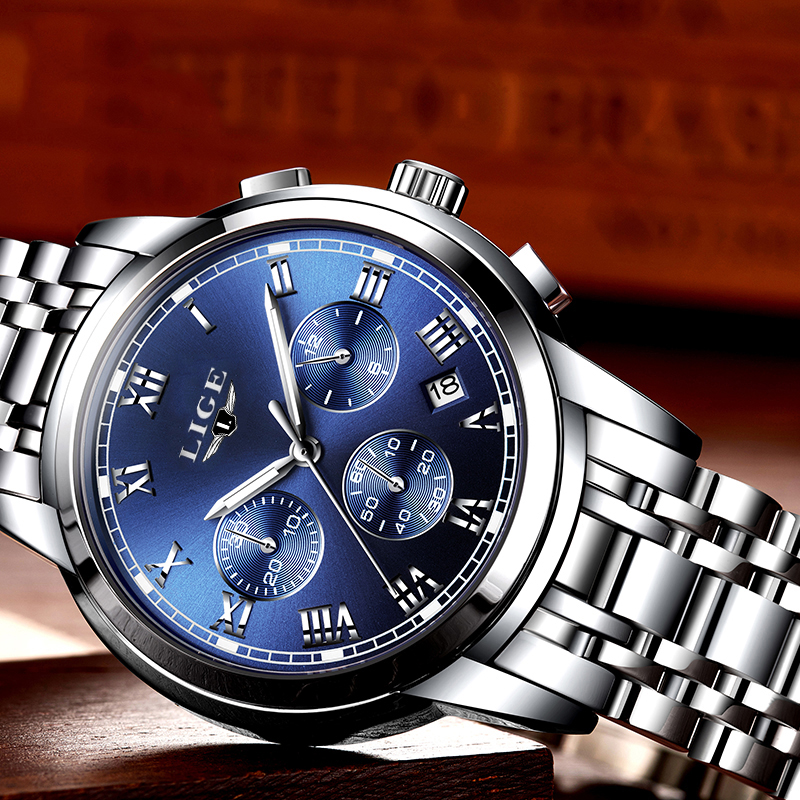 Brand LIGE Man Watches Luxury Fashion Business Quartz Watch Men Sport Full Steel Waterproof Wristwatch relogio masculino 2017 relogio masculino lige men watches top brand luxury fashion business quartz watch men sport full steel waterproof wristwatch man