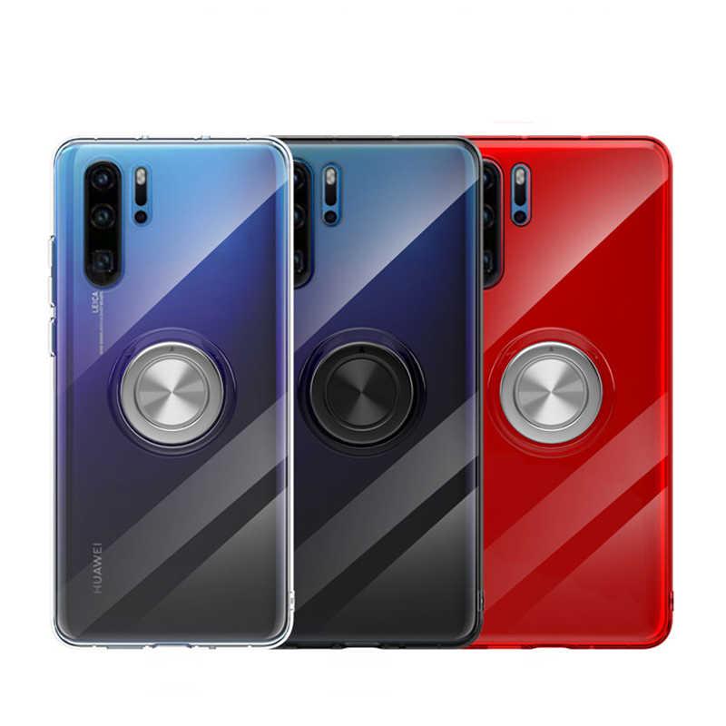 Di lusso Trasparente Glitter Anello di Supporto In Plastica Per Il Caso di Huawei P30 P20 Pro Lite Nova 3e 4 Compagno di 20 20X Pro lite Honor V20 Copertura