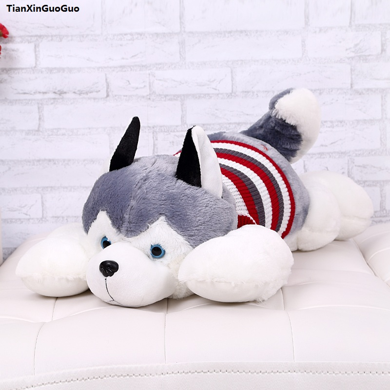 stuffed toy large 65cm lovely prone husky plush toy soft doll throw pillow birthday gift s1056 купить