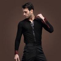 2016 Ballroom Dress New Man Latin Dance Chacha Rumba Samba Square Clothes Long Sleeved Shirt Male