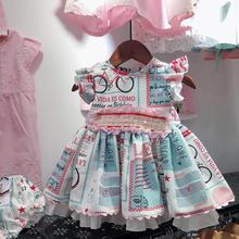 Summer Fashion Spanish Lolita Dress Boutique Vintage Flower Print Children Birthday Party Gown Kids Clothes Vestidos Y1146