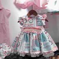 Summer Fashion Spanish Lolita Dress Boutique Vintage Flower Print Children Dress Birthday Party Gown Kids Clothes Vestidos Y1146