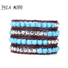 Fyla Mode Exclusive Blue Turquoise Bead With Silver Beads 4 Strands Weave Leather Wrap Bracelet Multi Layered Vintage Bracelet