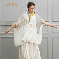 VOA шелк Для женщин футболка более Размеры d футболка белый бежевый Лоскутные женские топы рукав «летучая мышь» свободные плюс Размеры Повсе