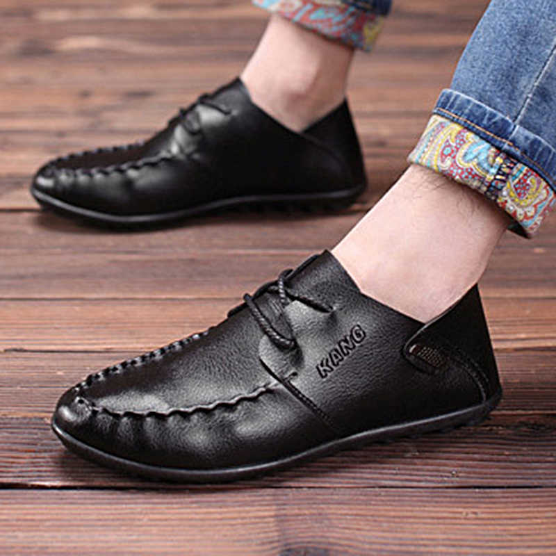 Мужская повседневная обувь 2019 мужские лоферы Мокасины итальянские кожаные мужские туфли дышащие слипоны черные туфли для вождения удобные мокасины
