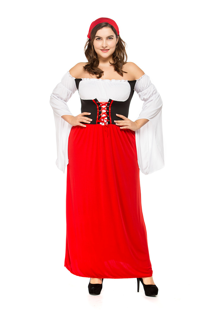 plus size Germany Bavaria Oktoberfest beer festival work clothes Costume Halloween Carnival Party Cosplay Fancy long dress A014