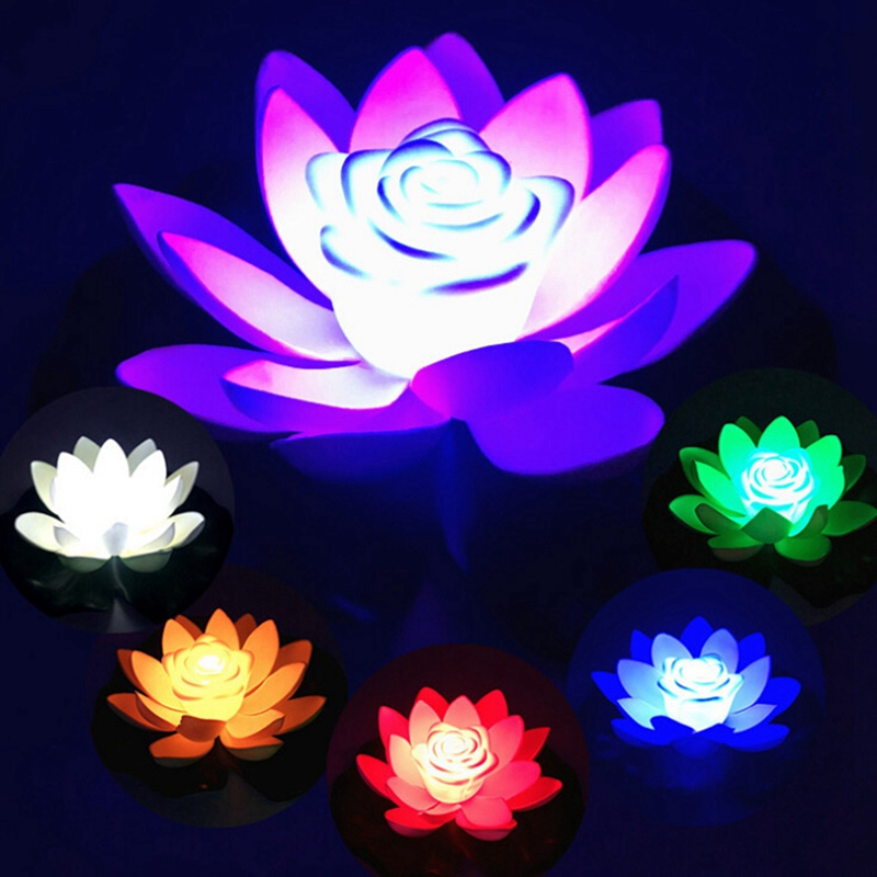 LED Night Light Lotus Artificial Floating Lotus Lamp Fake Water Lily Lotus Flower Garden Pool Pond Fountain Jardin Decor 18-28cm