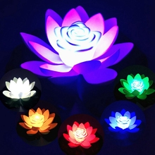 LED Night Light Lotus Artificial Floating Lamp Fake Water Lily Flower Garden Pool Pond Fountain Jardin Decor 18-28cm