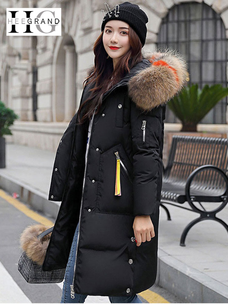 HEE GRAND 2018 Winter Colored Fur Collar Jacket 3XL Windproof Overcoat Snow Coats Women Long Thick   Parkas   Hooded Outwear WWM1678