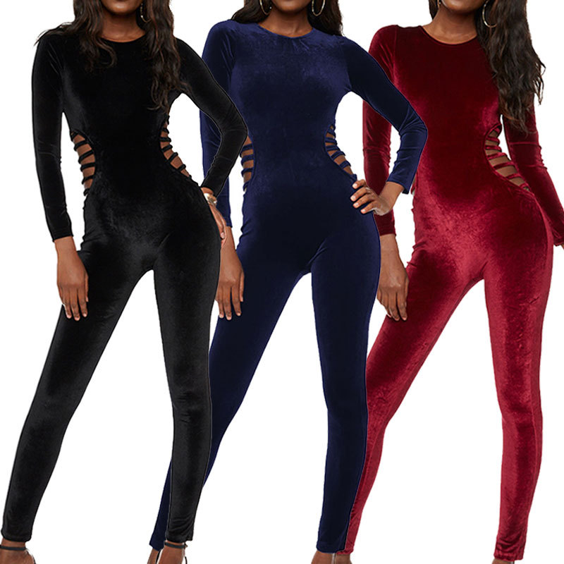 Velvet Women Jumpsuit 2018 Elegant Winter Party Cut Hollow Out Playsuits Crew Neck Long Sleeve Bodycon Overalls Feminino Body