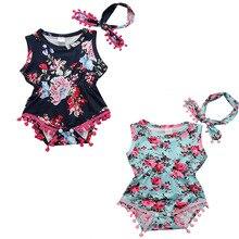 2Colors! Summer Children Girl Clothes Set Flower Ball Tassel Romper Baby Girl floral Headband 2pcs Infant Girl Jumpsuit Outfits