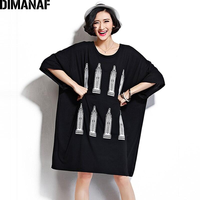 DIMANAF Women T-Shirt Plus Size Cotton Summer Oversized Female Fashion Print Pattern Basic Tops Black Casual Loose Large 5XL 4XL