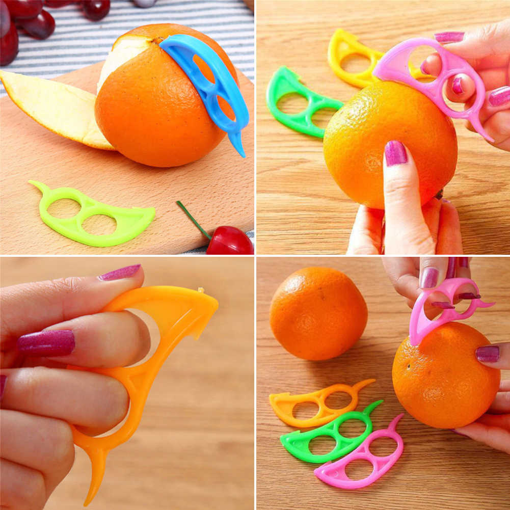 Plastik Mudah Slice Bentuk Lemon Orange Citrus Pembuka Pengupas Penghilang Pemotong Alat Pengiris dengan Cepat Stripping Alat Dapur