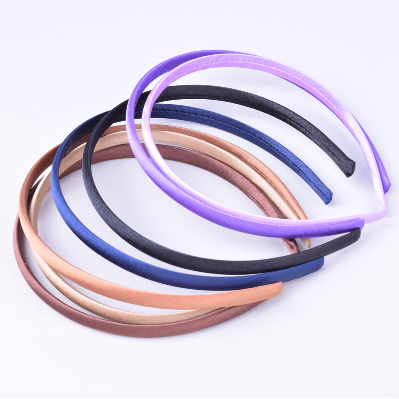 Image 3 - 60pcs/lot DIY Satin Covered Headbands 10mm Solid Fabric Covered Resin Hair Band Plastic Hairbands Girls Hair Headband for Women-in Hair Accessories from Mother & Kids