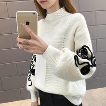 Semi-high-collar Sweater Female Spring, Autumn and Winter 2019 New Pullover Female Loose Soft Girl Knitted Bottom Shirt(China)