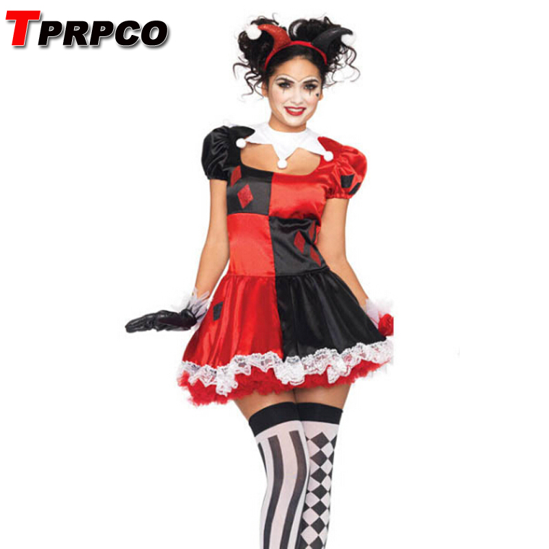 TPRPCO Fantasy Women Carnival Harley Quinn Cosplay Costume Party Skirts Halloween Fantasias Women NL149