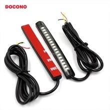 DOCONO 1 шт. Универсальный гибкий светодиодный тормозной светильник для мотоцикла s, сигнальный светильник поворота, 18 светодиодный s светильник для номерного знака, мигающий