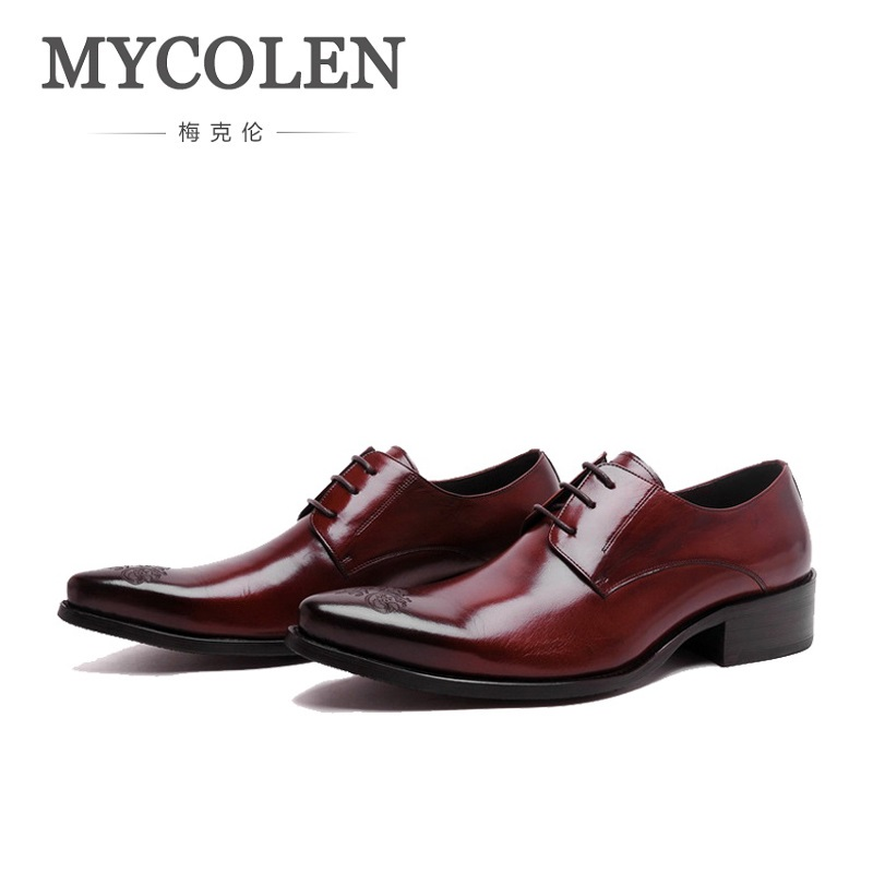MYCOLEN Genuine Leather Men Formal Shoes Luxury Dress Business Breathable Shoes Pointed Toe Spring Men Oxfords Male Scarpe